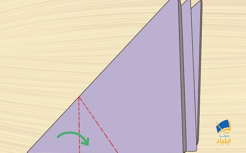 کاغذ را بچرخانید تا طولانیترین زاویه مثلث از شما دور شود