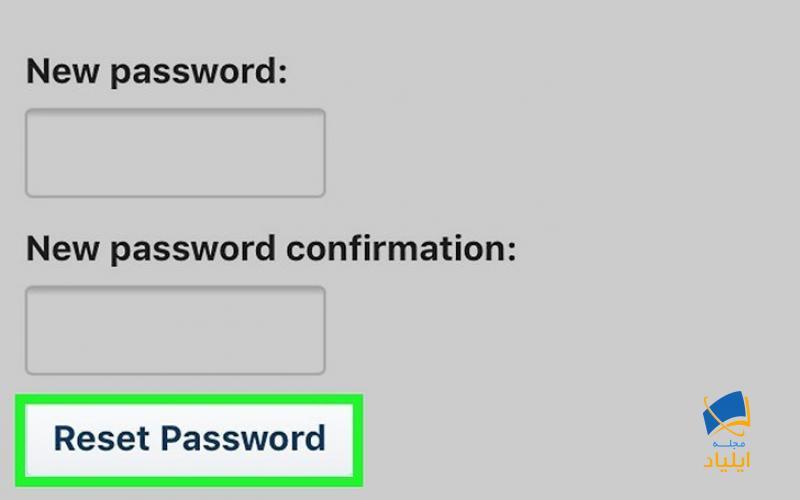 روی «Reset Password» ضربه بزنید